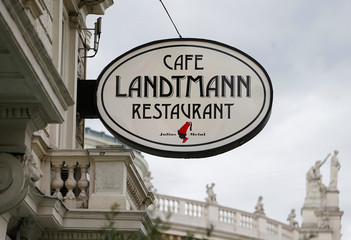 The logo of cafe Landtmann is seen outside its restaurant in Vienna
