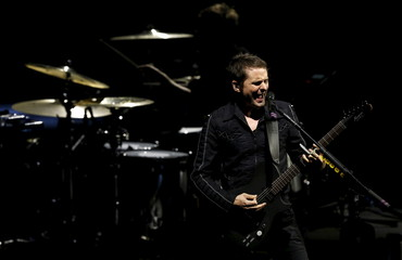 Bellamy of rock band Muse performs during the Drones World Tour at Staples Center in Los Angeles