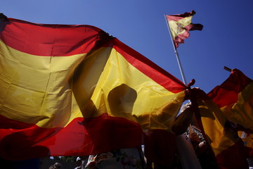"""People hold Spanish flags during a demonstration under the slogan """"Madrid is not communist"""" at Madrid's Colon Square"""