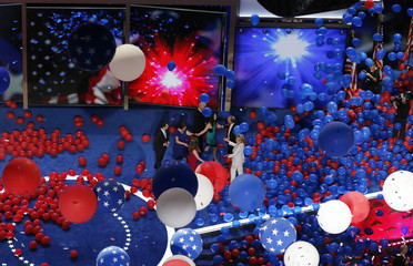 Balloons drop after Democratic presidential nominee Hillary Clinton accepted the nomination at the Democratic National Convention in Philadelphia, Pennsylvania