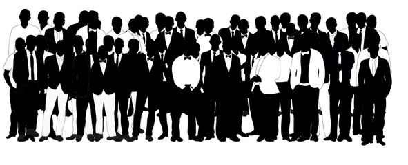 Collection of black and white business man silhouettes, crowd,