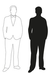 illustration, outlines man stands, sketch and silhouette