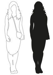 Sketch and silhouette of woman