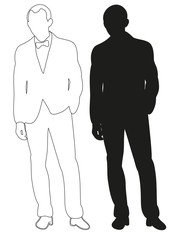 outlines man stands, sketch and silhouette