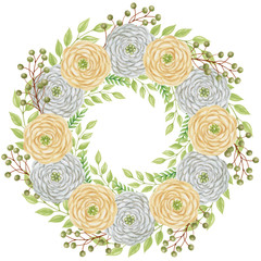 Hand Painting Marker wreath of pastel roses and ferns