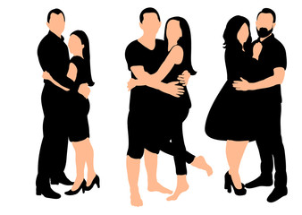 Collection of couple silhouettes guy and girl love, set,