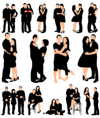 Collection of couple silhouettes guy and girl