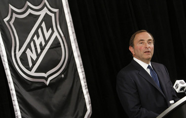 NHL commissioner Gary Bettman speaks to the media in New York