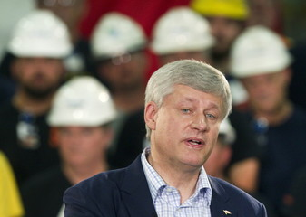 Canada's Prime Minister Harper speaks at Laurel Steel on a campaign stop in Burlington Ontario