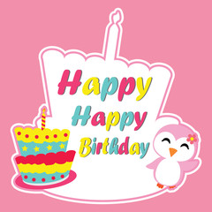 Cute penguin girl is happy on birthday cake frame vector cartoon, Birthday postcard, wallpaper, and greeting card, T-shirt design for kids