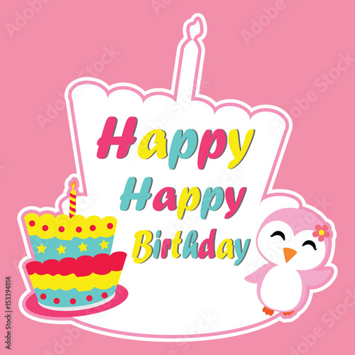 Cute Penguin Girl Is Happy On Birthday Cake Frame Vector Cartoon
