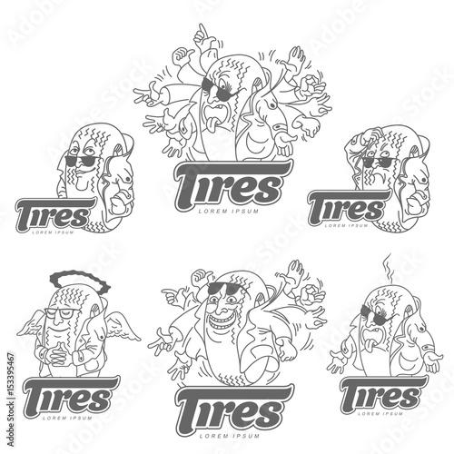 Vector set cartoon caricature character tire logo template ...
