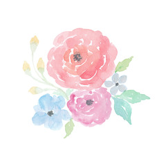 Handpainted watercolor flowers clipart. Watercolor roses and blossoms.