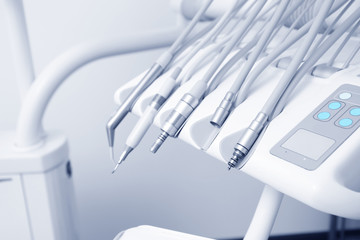 Dental instruments in clinic, closeup