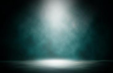 Blue spotlight stage smoke design background.