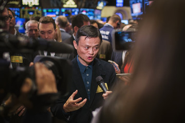 Alibaba founder Jack Ma speaks at the NYSE before the company's IPO, in New York