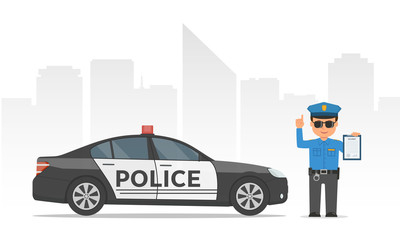 Traffic policeman holding clipboard. Cartoon policeman and police car on urban skyscrapers background.