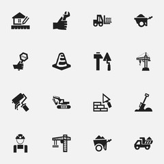 Set Of 16 Editable Building Icons. Includes Symbols Such As Excavation Machine, Truck, Scrub And More. Can Be Used For Web, Mobile, UI And Infographic Design.