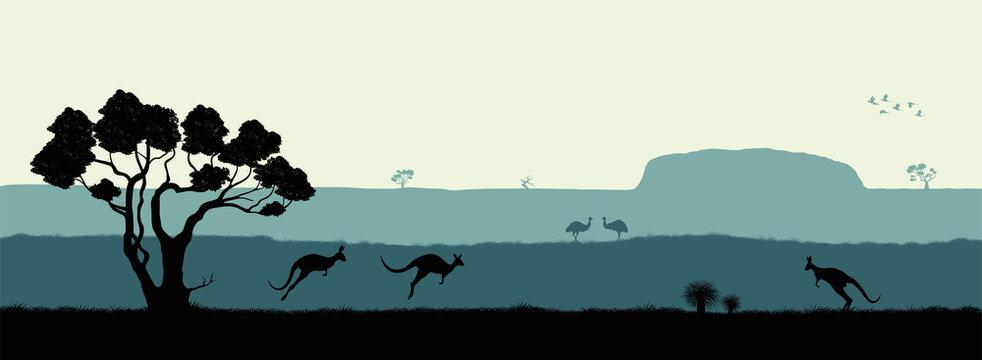 Australian landscape. Black silhouette of trees, kangaroo and ostrichs on white background. The nature of Australia