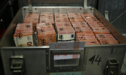 Wads of 10 euro banknotes are stacked in a transport box at the Money Service Austria company's headquarters in Vienna