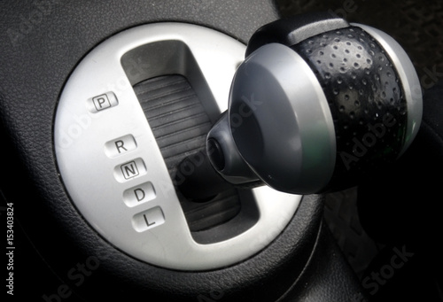 Top view of gear shift knob of automatic transmission inside a car