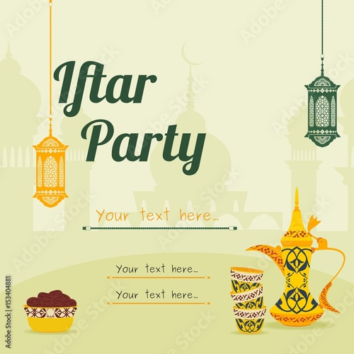 """Editable Iftar Party Vector Background Concept for Poster ..."