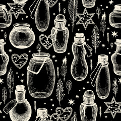 Magic seamless pattern with glass flasks