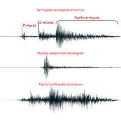 Seismogram isolated on white. Realistic seismogram graphs vector illustrations. Structure of a seismogram. Typical earthquake and nuclear weapon test seismic waves graphs. Seismology design elements.