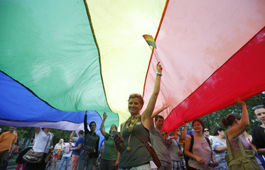 People take part in the annual gay parade in Budapest
