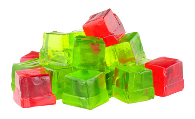 Group of lime and strawberry fruit flavoured jelly cubes isolated on a white background