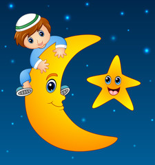 Happy muslim kid climbing on the moon
