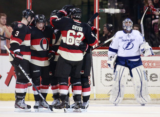 Ottawa Senators' Gryba celebrates his goal against Tampa Bay Lightning during the first period of their NHL hockey game in Ottawa