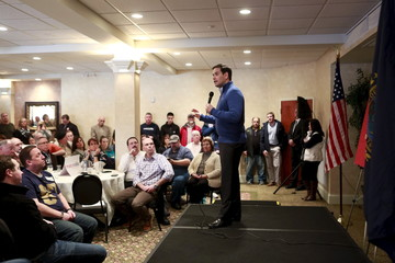 U.S. Republican presidential candidate Senator Marco Rubio speaks to supporters at a party to watch the NFL football game between the Miami Dolphins and the New England Patriots in Atkinson, New Hampshire