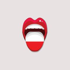 Learning languages concept. Learning Polish language. Open mouth with flag of Poland. Polish language tongue open mouth with flag of Poland. Vector illustration. EPS 10.