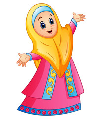 Muslim girl wearing yellow veil and pink dress presenting
