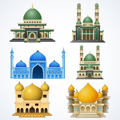 Set of muslim mosque isolated on white background