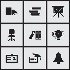 Set Of 9 Editable University Icons. Includes Symbols Such As Certification, Bookshelf, Bell And More. Can Be Used For Web, Mobile, UI And Infographic Design.