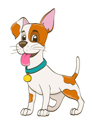 cute cartoon puppy dog with collar. funny pet vector illustration