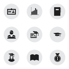 Set Of 9 Editable School Icons. Includes Symbols Such As Certification, Graduated Female, Studying Boy And More. Can Be Used For Web, Mobile, UI And Infographic Design.