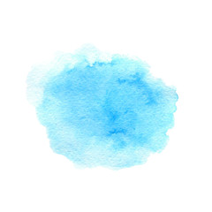 Hand drawn watercolor blue texture isolated on the white background