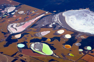 Salt pans and dams can be seen in farming areas located in the southern region of Western Australian, near the city of Perth, Australia