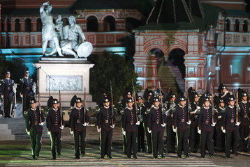 "Members of His Majesty the King?s Guard Band and Drill Team from Norway practise during a rehearsal for the ""Spasskaya Tower"" international military music festival on Moscow's Red Square"
