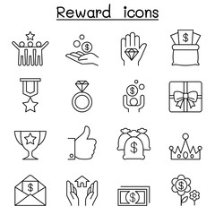 Reward & Bonus icon set in thin line style