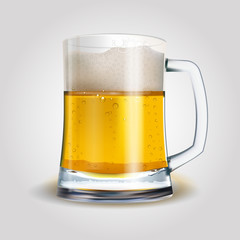 Beer mug isolated on white photo-realistic vector illustration. EPS 10