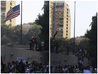Combo picture shows protesters shouting slogans before and after pulling down an American flag in front of the U.S. embassy in Cairo