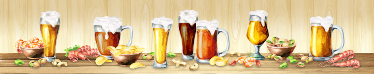 Panoramic image of beer and snacks on a light background. Can be used for kitchen skinali. Watercolor