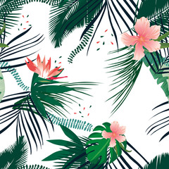 Seamless tropical pattern palm leaves. Summer Jungle floral background.