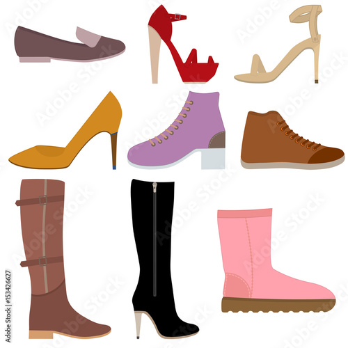 Set with different of women's shoes  Various types female