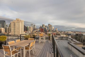 rooftop deck overlooking city of seattle