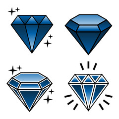 vector collection of tattoo diamonds in new school style